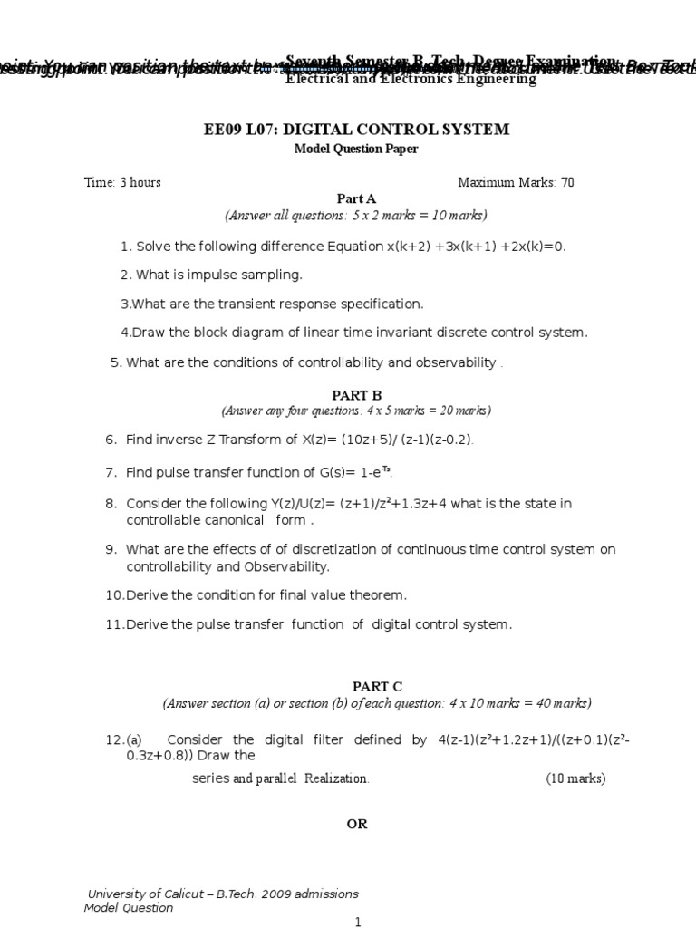 Ee09 L07 Digital Control System Model Qp Theory Signal Block Diagram Linear Processing