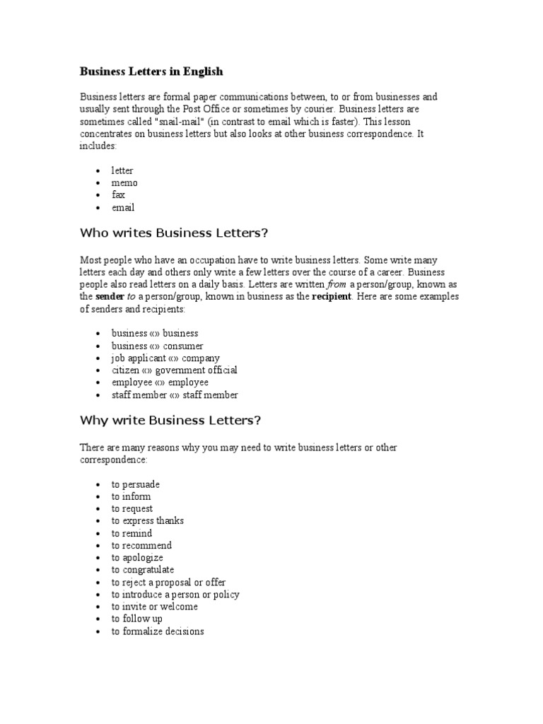 Business Letters In English Mail Paragraph