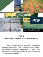 Irrigation Engineering Unit V