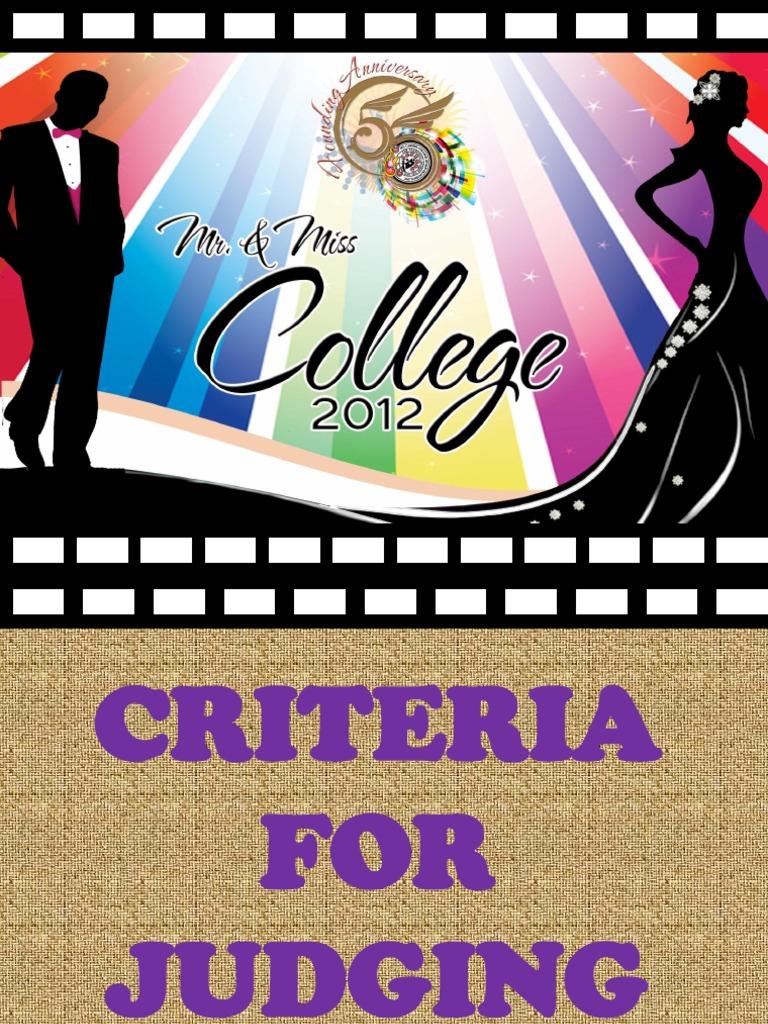 Criteria for judging mr ms college 2012 stopboris Images