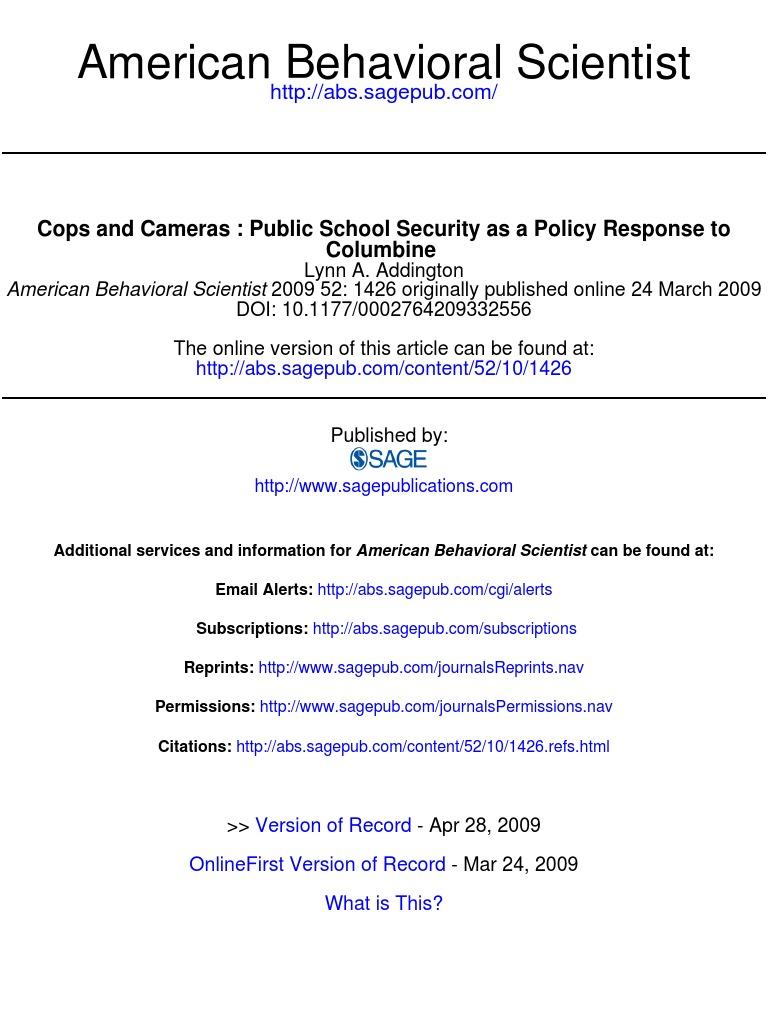 American Behavioral Scientist 2009 Addington 1426 46 School