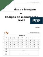 Símbolos de lavagem e códigos de manutenção têxtil