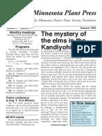 Summer 2008 Minnesota Plant Press ~ Minnesota Native Plant Society Newsletter