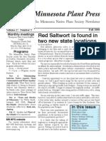 Fall 2008 Minnesota Plant Press ~ Minnesota Native Plant Society Newsletter
