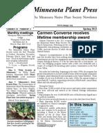 Spring 2012 Minnesota Plant Press ~ Minnesota Native Plant Society Newsletter