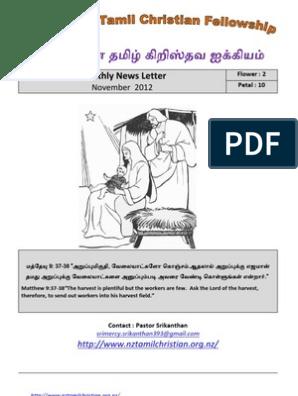 Wellington Tamil Christian Fellowship News Letter - November