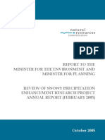 Natural Resources Commission NSW:REPORT TO THE MINISTER FOR THE ENVIRONMENT AND MINISTER FOR PLANNING REVIEW OF SNOWY PRECIPITATION ENHANCEMENT RESEARCH PROJECT ANNUAL REPORT (FEBRUARY 2005)