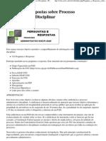 Perguntas e Respostas sobre Processo Administrativo Disciplinar - IF-SC São José