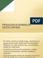 Producción de biomasa en Cultivo continuo