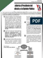 Carta Abierta al Presidente del Poder Judicial