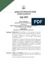 Ley Prov. de Educación de la Prov, de Córdoba-Ley98707