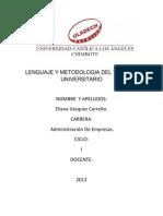 Lenguaje y Metodologia Del Trabajo Universitario