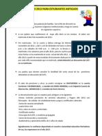 ADMISIONES PARA ESTUDIANTES ANTIGUOS  AÑO  2013
