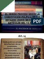 El debido proceso según lá Constitución Política de los Estados Unidos Mexicanos, artículos del 14 al 23.