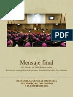 Mensaje final Sínodo nueva evangelizacion