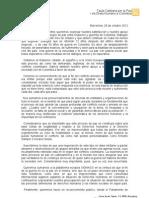 Carta Taula Catalana - Apoyo Proceso Paz Colombia.
