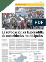 La revocación es la pesadilla de autoridades municipales