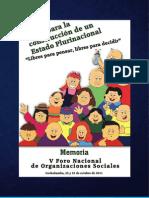 Memoria del  V Foro Nacional de Organizaciones Sociales.