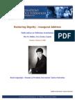 Restoring Dignity - Inaugural Address