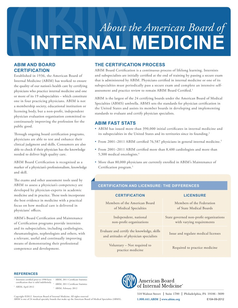 About Abim Certification By The American Board Of Internal Medicine