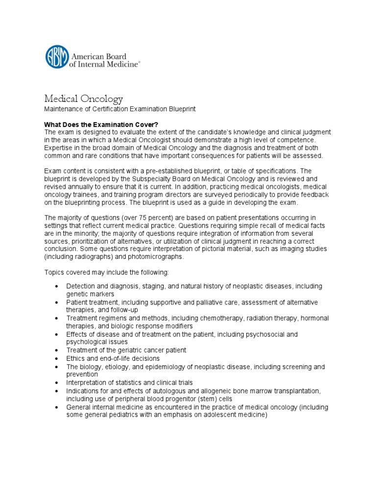 Medical Oncology Maintenance of Certification Examination Blueprint