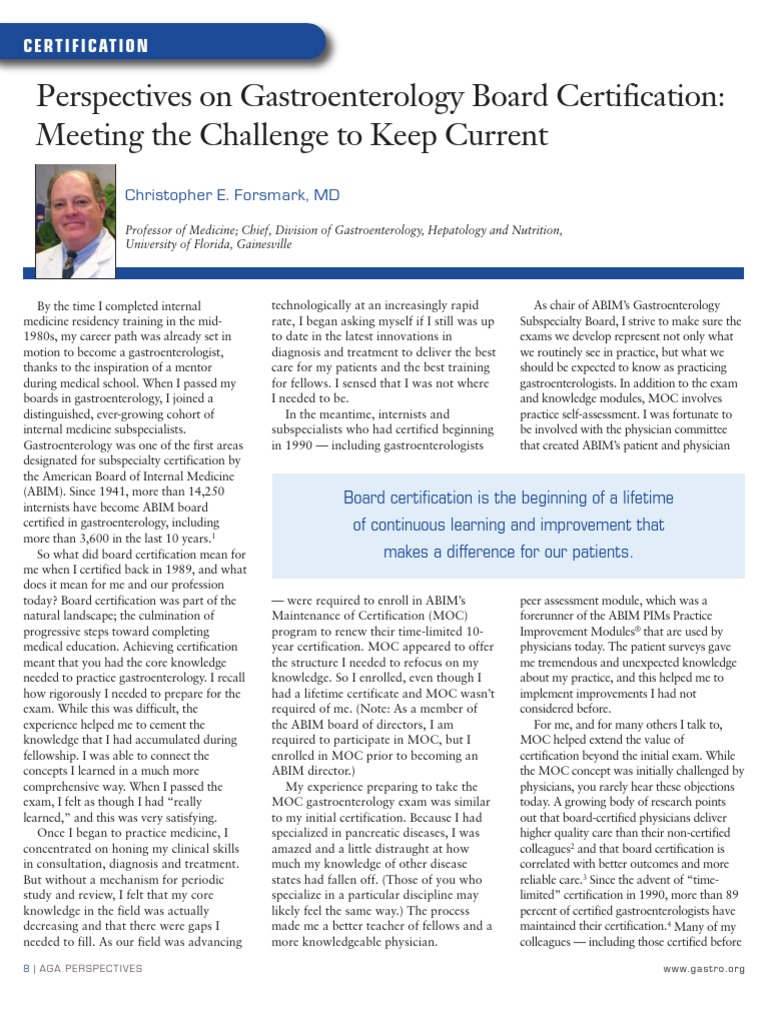 Perspectives on Gastroenterology Board Certification