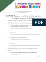 Reflection Sheet for End of Unit Celebration