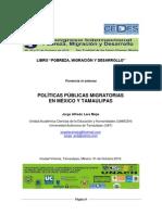 POLÍTICAS PÚBLICAS MIGRATORIAS EN MÉXICO Y TAMAULIPAS. Ponencia Extenso. 31.10.12