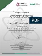 Jorge Lera. Constancia Asistencia Congreso IICA 2012. 18-22 Jun