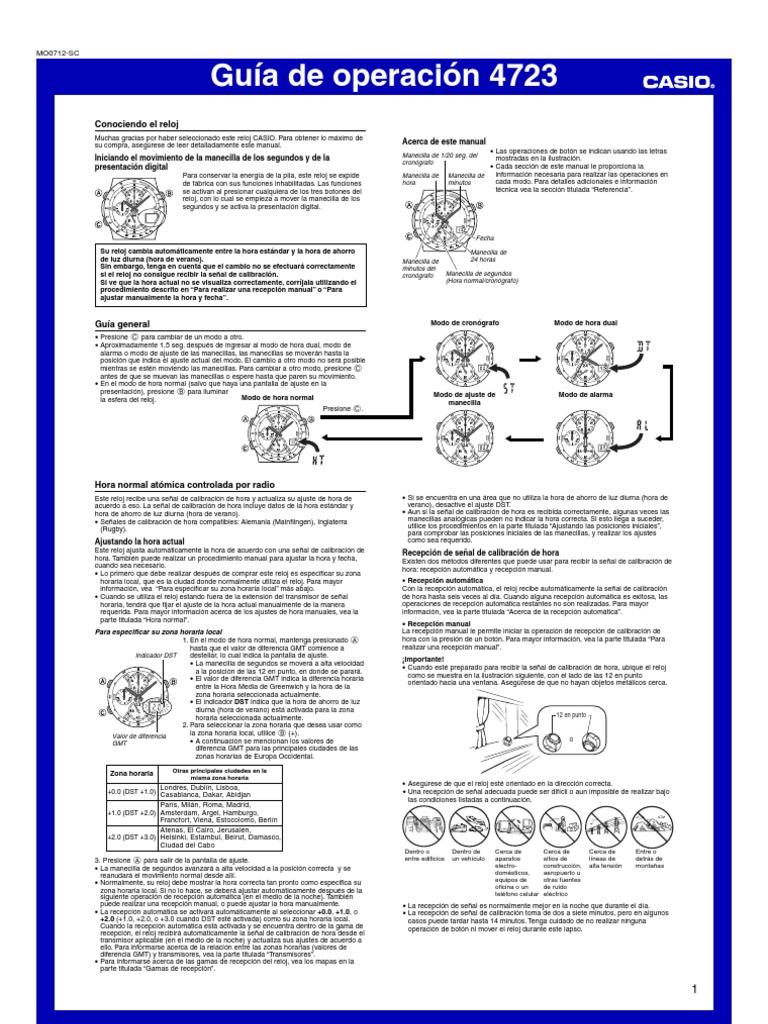 0240dae73b7d Manual Reloj Casio Wave Receptor qw4723