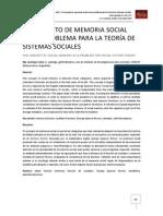 Concepto de Memoria Social como Problemática para la Teoría de Sistemas Sociales