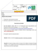 Atividade avaliativa 1 - Psicologia - Módulo 1.2 - Serviço Social