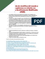 Carta abierta de científicos del mundo a todos los gobiernos en relación con Organismos Genéticamente Modificados