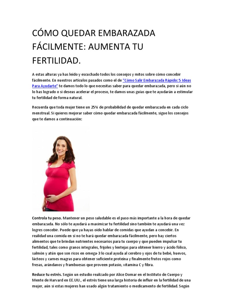 secretos caseros para quedar embarazada rapido