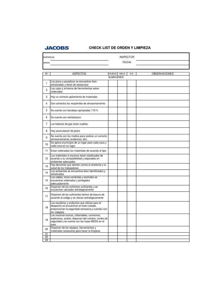 check list orden y limpieza