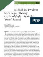 Paradigm Shift in Twelver Shii Legal Theory (Usul Al-fiqh) Ayatullah Yusef Saanei