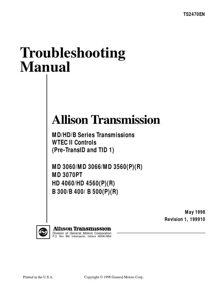 md3060 trouble shooting throttle transmission mechanics rh scribd com MD3060 Allison Transmission Specs allison md3060 transmission manual