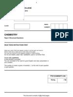 H2 Chemistry Mock A Level Paper 2