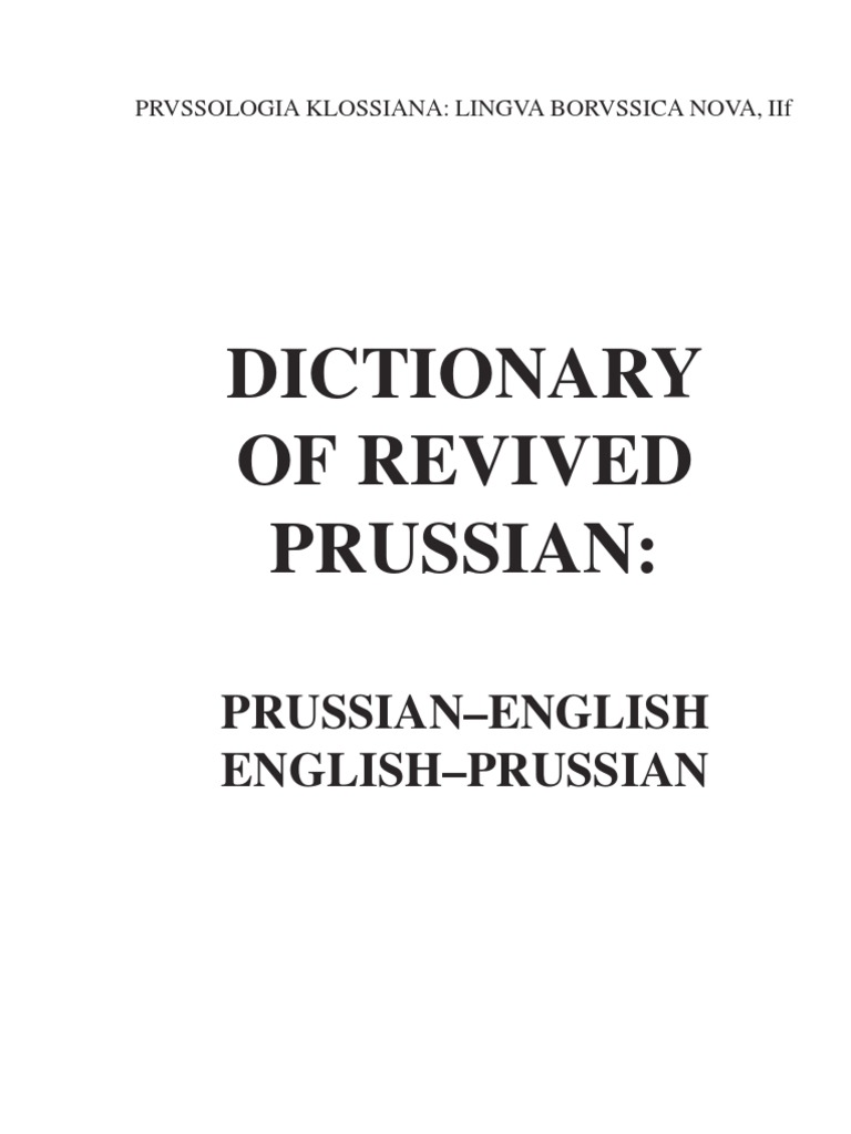 Prussian English Dictionary | Semiotics | Grammar