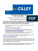 Jackie Cilley Election Alert for October 30 2012