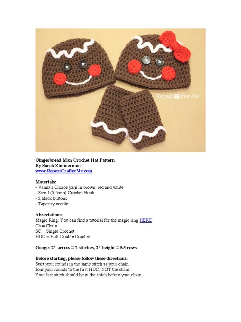 Free Crochet Pattern For Gingerbread Man Hat : Crochet Gingerbread Man Hat Crochet