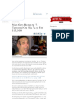 Man Gets Romney 'R' Tattooed On His Face For $15,000 -