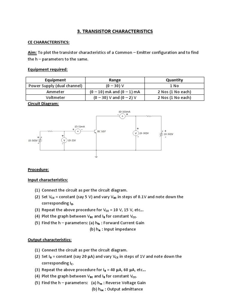 Exp3 Bipolar Junction Transistor Electronic Circuits Ammeter Circuit Diagram