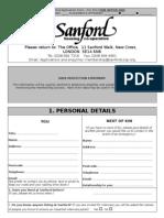 Sanford Application Form - Oct 2012