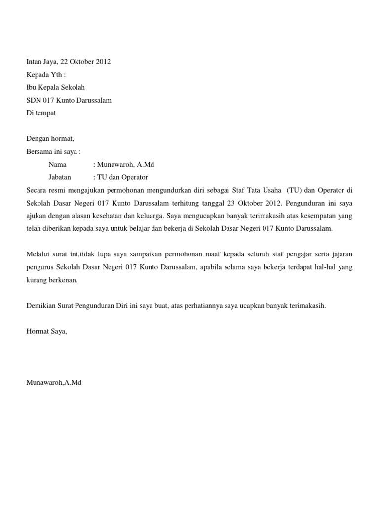 Contoh Surat Pengunduran Diri Kepala Sekolah - Contoh ...