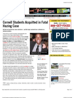 Cornell Students Acquitted in Fatal Hazing Case