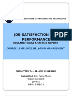 Data Analysis Reserach Report- on Between Employee Satisfaction and Performance