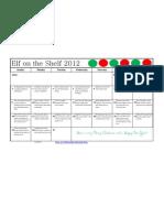 Elf on the Shelf Calendar 2012
