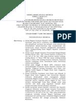 Uu No.4 2010_pengesahan Perjanjian Antara Republik Indonesia Dan Republik Singapura Tentang Penetapan Garis Batas Laut Wilayah Kedua Negara Di Bagian Barat Selat Singapura, 2009