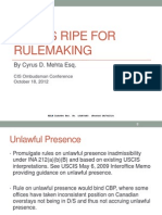 Issues Ripe for Rulemaking